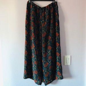 Vintage multicolored Lizsport wide silk pants